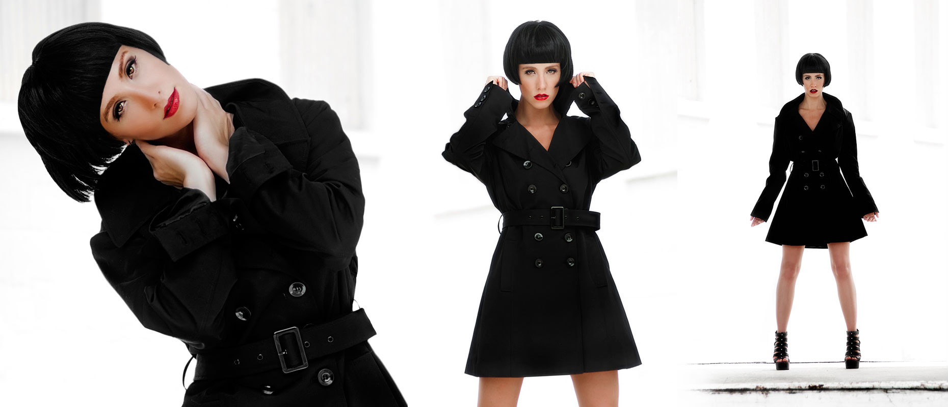 editorial photography of female model wearing trench coat with black crop wig