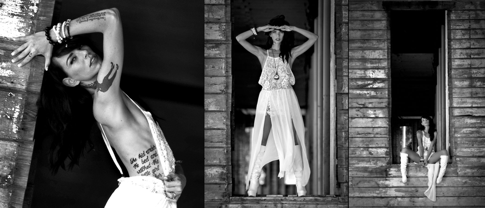 editorial photography of female model wearing white dress in urban scene by doug heslep photography