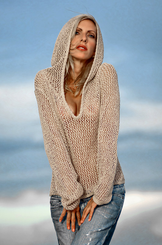 editorial photography of female model wearing sweater and hoodie by doug heslep photography