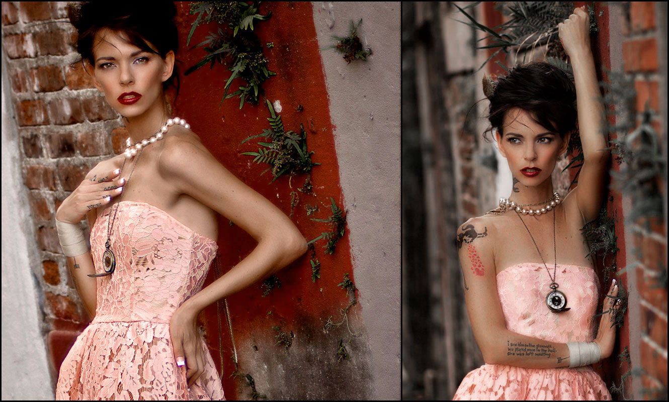 editorial photography of female model wearing pink dress in alley by doug heslep photography
