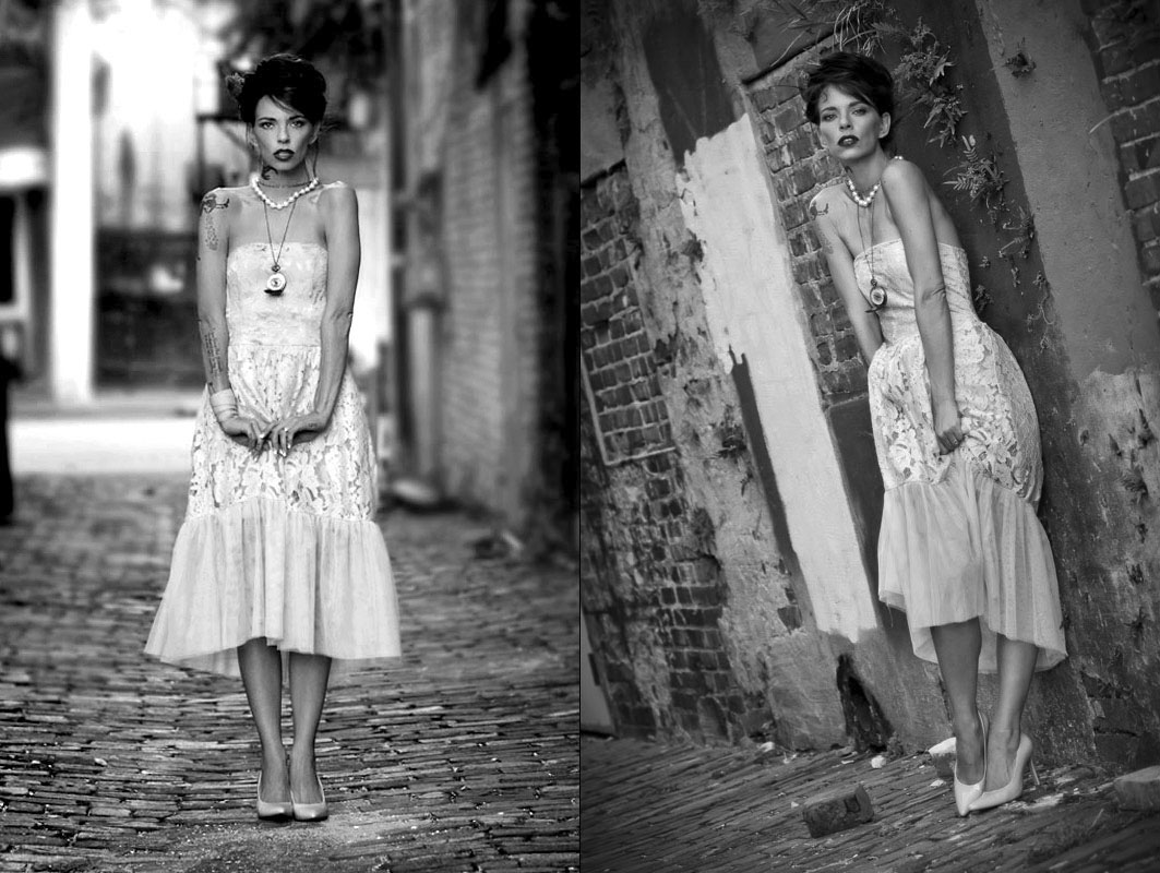editorial photography of female wearing dress in alley by doug heslep photography