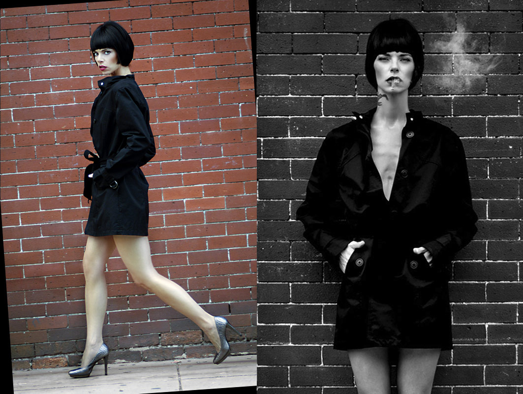 editorial photography of female model wearing trench coat with black crop wig by doug heslep photography